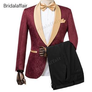 Wonderful Groomsmen Tuxedos Bordeaux Blazer Jacquard Hommes Costume Ensemble Pour Mariage De Bal Formelle Hommes Costumes 2 Pièce 2018 (veste + pantalon) Y190418