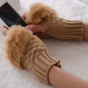 Le donne guanti mezzi della barretta addensare mano calda Guanti invernali Faux delle signore di lana lavorato a maglia Crochet mezze dita del guanto polso Warmer Guanto BH2884 TQQ