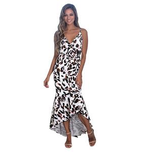 2009 vestido de primavera e verão novo cross-border mulheres explosivo gola V mangas sling sexy leopardo-impressão vestido rabo de andorinha