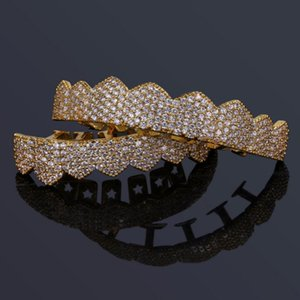 TOPGRILLZ Custom Fit Gold Silver Cor Iced os dentes Hip Hop Grillz Micro Pave Cubic Zircon Top dentes inferiores Grills Set