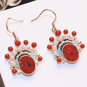 Korean Elegant Pearl Drop Earrings Vintage Crystal Rhinestone Dangle Earrings Fashion Red Chinese Style Jewelry for Women Ear Hook