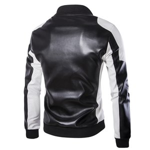 2019 Autumn Hot Selling Men Stand Collar Leather Coat Trend Casual Mixed Colors Ultra-Large Size Leather Coat Jacket