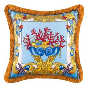 50 centímetros criativa Marca Medusa Designer almofadas decorativas Covers Velvet Thicken Tassel Almofada Caso criativo de luxo Real Europeia Início Cojines
