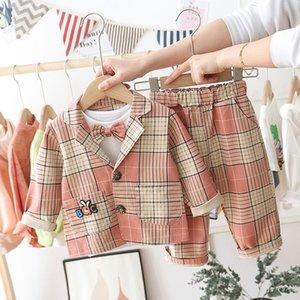 Autumn Baby Boy Clothes Sets Kids Plaid Jacket T-shirt Pants 3Pcs sets Infant Outfit Fashion Birthday Baby Boy Clothing Suits