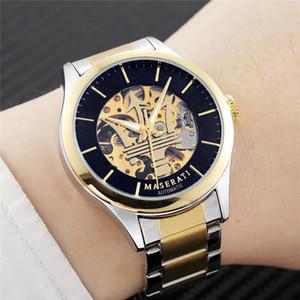 남성용 기계식 시계 마세라티 장미 시계 블랙 골드 스틸 벨트 남성 시계 비즈니스 시계 밀리터리 시계 골격 기계식 시계