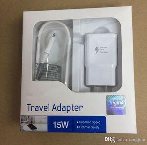 Alta qualità 15W Adaptive 100% ricarica veloce US / EU Caricabatteria da viaggio da viaggio + 1.5M Micro cavo USB per Samsung S6 S7 Edge Note 4 5 Con scatola