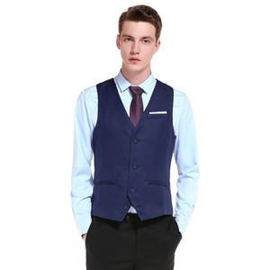 Groom için 2020 Özelleştirme Yüksek kaliteli Ürünler Pamuk Erkekler Moda Tasarımı Suit Yelek / Gri Siyah Yüksek uç Erkekler İş Casual Suit Yelekler