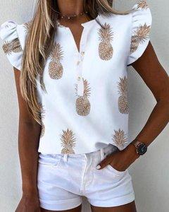 Blouses Femmes Chemises Chemises Femmes Manches courtes À Manches courtes V Le cou Pine ananas Lettre Imprimé Blouse 2021summer Fashion Casual Bouton Loose Till Kirt Fem