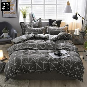 45 Cama Stripe Set Leaves Flower Bed Set 21Style Aloe Cotton Bed Sheet Semi-reativa impressão Home Textile Products