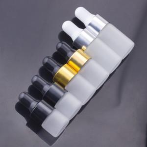 Bottiglie di vetro glassato Dropper 1ml 2ml 3ml essentail bottiglia di olio Pipetta imballaggio cosmetico Contenitore con Cap Gold Nero Argento