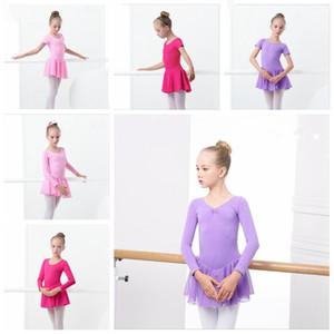 Kız Bale Elbise Jimnastik Leotard Uzun Kısa Kollu Balesi Giyim Backless Bow Dance Wear Düğme Romper TUTU Prenses Giyim DYP411