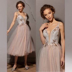 Stunning Appliqued Prom Dresses Sheer Plunging Neck Sequined Evening Gowns A Line Tea Length Tulle Plus Size Formal Dress