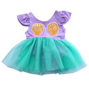 Emmababy Yenidoğan Bebek Kız Yaz Elbise Denizkızı Bir Adet Tulum Elbise tulum Prenses Parti Balo İçin 0-18M