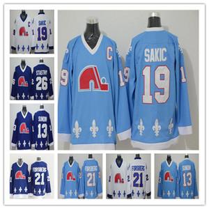 Hombres Retro Quebec Nordiques Jerseys Hockey 13 Tapetes Sundin 21 Peter Forsberg 26 Peter Stastny 19 Joe Sakic Uniformes blancos azules claros