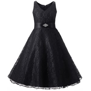 Children Birthday Party Clothes Sleeveless Black Navy Blue Red Wedding Party Girl Dresses Formal Kids Girls Lace Princess Dress