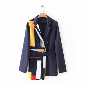 Office Lady Robe Blazer Vêtements printemps femmes Patchwork breasted entaillé Femmes Simple Mode Vestes et manteaux Jupettes Blazer