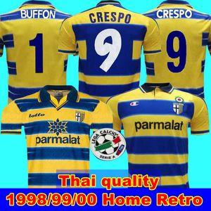 1998 99 00 Parma retro camiseta de fútbol 1999 00 Parma Crespo Thuram Baggio PARMA CALCIO casero retro del fútbol del jersey retro de Inicio 99 00 Campeón