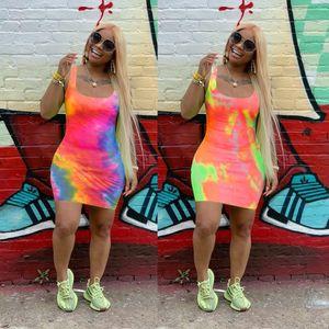 Womens Sexy Fashion Dye Tie Print Sleeveless Bodycon Mini Dress Party Club Short Slim Fit Dresses