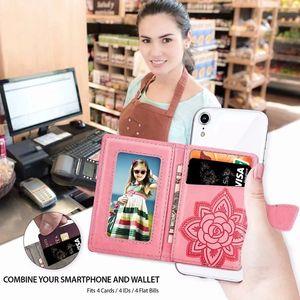 10 piezas nueva llegada Universal cuero trasero pegatina cubierta caso titular de la tarjeta billetera ranuras flor mariposa PU cuero funda para teléfono celular