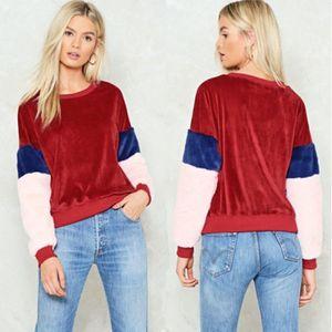 Hot retrò 2018 donne peluche manica lunga Pullover alti giacca maglietta felpata dei Hoodies di modo caldo autunno-inverno caldo cappotto