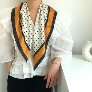 Classic HNA beautiful 2020 retro spring new girl silk square scarf temperament with suit fashion style