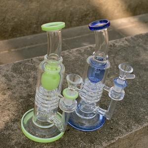 Tubi in Vetro Spesso Bong invertito della doccia in vetro Dab Rig Torus Recycler Bong Barile Perc Oil Rigs Ratchet caffettiera a filtro acqua di vetro con la ciotola