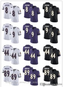 Hombres Mujeres Baltimorecuervos8 Jóvenes Lamar Jackson 9 Justin Tucker 44 Marlon Humphrey 89 Mark Andrews fútbol jerseys púrpura