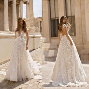 Neue Berta 2019 Brautkleider 3D Floral Applique Spitze V-Ausschnitt Sleeveless Backless Sweep Zug Plus Size Brautkleider Robe De Mariée