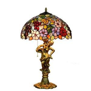 mesa de luxo americano lâmpadas quarto de hotel estudo lâmpada de cabeceira lâmpada de tabela Europeu café moda retro Tiffany manchado de vidro da lâmpada TF038