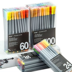 0.4 Mm 24 36 60 100Pcs Colors Fineliner Pens Marco Super Fine Draw Marker Pen Color Needle Pen Water Based Assorted Ink No-tox