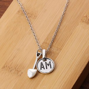 Mini Spade AM Round Pendant Necklace Metal Male Hip-hop Collar Chain Rock Bar Jewelry Fashion Gift Accessories Motorcycle Chain