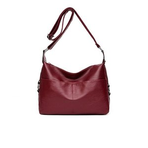 Ombro macio Casual Ladies Messenger Bag bolsa 2020 New PU Couro Simples Moda Preto e Red Wine