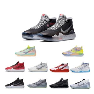 NIKE New KD 12 XII Aunt Pearl Basketball Shoes Kevin Durant XII KD12 White Ink Splashing Ink All Stars Mens Trainers Sneakers Shoes
