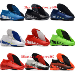 2020 mens boys turf soccer shoes Mercurial Superfly 7 Elite MDS TF cr7 football boots children women soccer cleats size 35-45