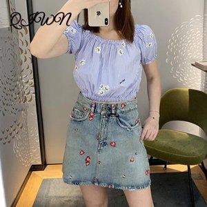 2020 Summer Fashion Bolder Sleeve Embroidery Daisy Blue Striped Short Sleeve Blusa Design di marca Collare Sexy Tops Vestiti