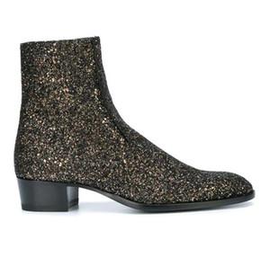Hombre Negro lentejuelas Wyatt 40 Glitter Glitter Botas cremallera lateral zapatos tire de la lengüeta Slp la moda de París Kanye West Western Boots