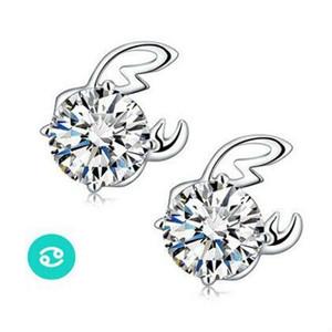 Earrings for Women genuine S925 fashion retro twelve Sterling Silver Earrings high-grade zircon jewelry wholesale ear sign Stud cute Earring
