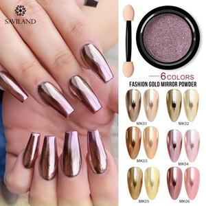 SAVILAND 6 couleurs Gold Mirror Magic Mirror Poudre Nail Art Décorations d'or en poudre pour ongles Outils de beauté