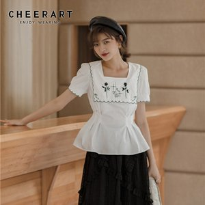 CHEERART Square Neck Floral Rose Embroidery Blouse Women Summer Top White Puff Sleeve Ladies Korean Tunic Blouse Short Sleeve
