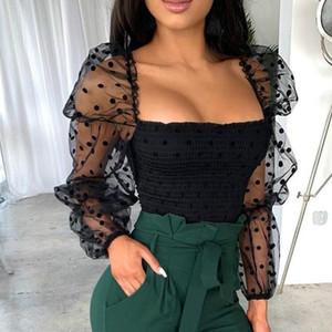 레트로 여성 블라우스 셔츠 폴카 도트 쉬어 긴 퍼프 슬리브 자르기 Bodycon 섹시한 여름 블라우스 여성 셔츠 탑