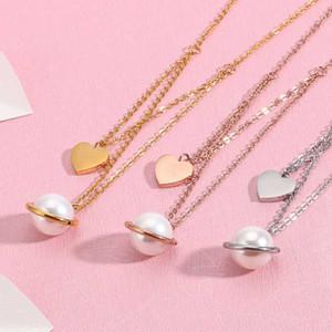 perla de la moda Simulación estrella del corazón collares pendientes para las mujeres joyería tricolor de acero inoxidable romántico Mujeres Gargantilla