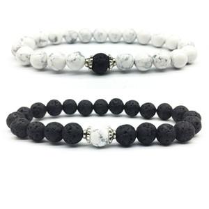 Paare Entfernung Armbänder Klassische Naturstein Weiß und Schwarz Yin Yang Perlen Armbänder bester Freund 2Pcs / Set Armbänder Sets