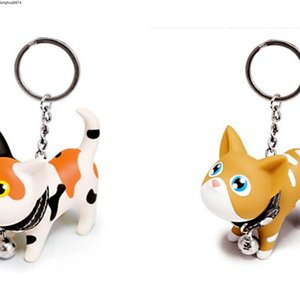 Keychain 50PCS Multicolor bonito Cadeia animal bonito Cat Dolls Key Baubles Pendant Agite Bell Head para crianças jóias criativa presente