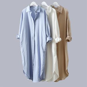VogorSean Cotton Mulheres Blusa shirt 2019 Verão New linho Algodão Casual Plus Size longa seção Womans Shirts branco / azul