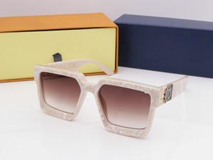 2019 New Men Markendesigner Sonnenbrille Millionaire quadratischen Rahmen Vintage glänzend Gold Sommer UV400 Linsenstil Laser mit Boxen