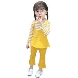 Spring Autumn Children Cotton Clothes Baby Girls Stripe T Shirts Boot Cut Pants 2Pcs sets Infant Kids Fashion Toddler Tracksuits