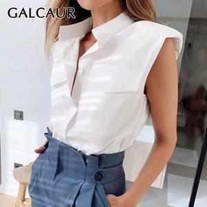 GALCAUR Mulheres Camisa Blusa lapela mangas Com Shoulder Pad shirt Tops Feminino 2020 Ladies Estilo Moda de Nova