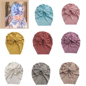 2020 New 8 Colors Baby Bowknot Turban Hats Newborn Girls India Caps Headwrap Infant Headband Beanie Cap for Children Accessories M1997