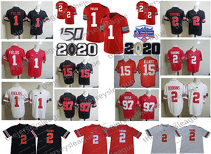 2020 Ohio State Buckeyes Playoff 150º # 1 Justin campos # 2 JK Dobbins joven # 15 Elliott Bosa Teague Fiesta Jersey Fútbol Cuenco