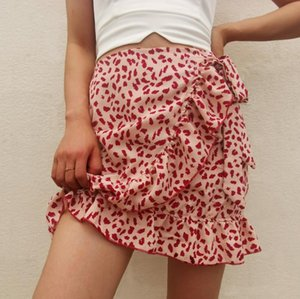 2020-Sommer-Frauen Boho Chiffon- Ferien Röcke Sommer mit hohen Taille Weiblicher Tupfen-A-Linie Rüschen Mini Beach Flare Rock für Frauen